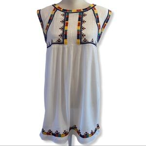 THML Embroidered Lined Sleeveless Babydoll Dress